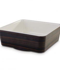APS Plus Melamine Square Bowl Oak and Cream 1.5 Ltr