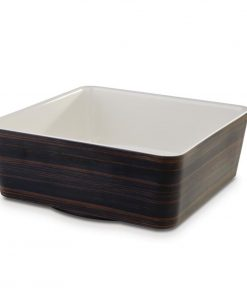 APS Plus Melamine Square Bowl Oak and Cream 3.5 Ltr