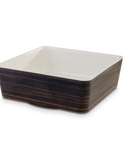 APS Plus Melamine Square Bowl Oak and Cream 4 Ltr
