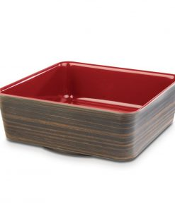 APS Plus Melamine Square Bowl Oak and Red 1.5 Ltr