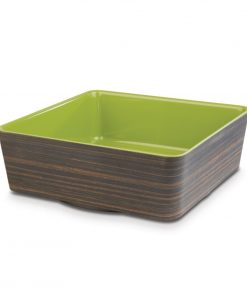 APS Plus Melamine Square Bowl Oak and Green 4 Ltr