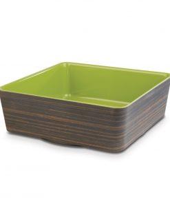APS Plus Melamine Square Bowl Oak and Green 4 Ltr
