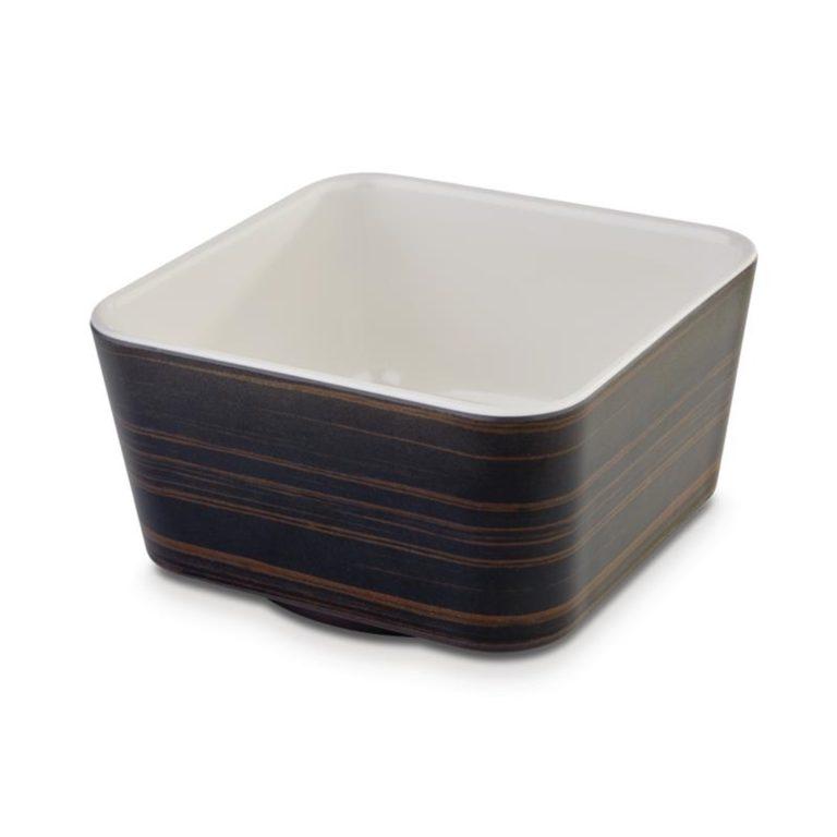 APS Plus Melamine Square Bowl Oak and Cream 700ml