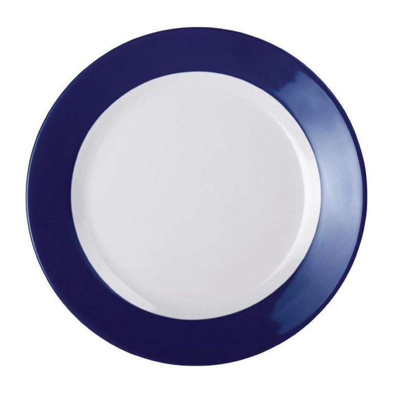 Kristallon Gala Colour Rim Melamine Plate Blue 230mm