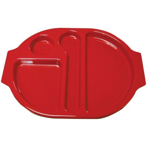 Kristallon Plastic Food Compartment Tray Small Red