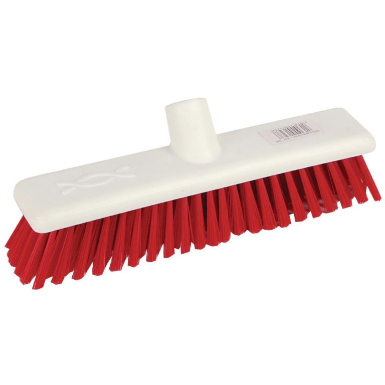 Jantex Hygiene Broom Soft Bristle Red 12in