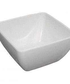 Curved White Melamine Bowl 8in