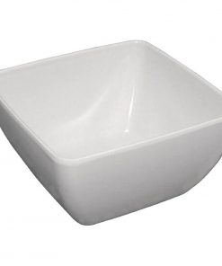 Curved White Melamine Bowl 11in