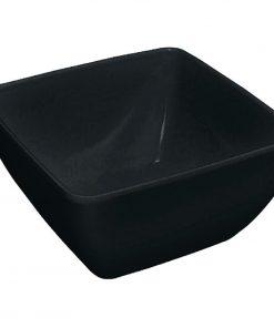 Curved Black Melamine Bowl 8in