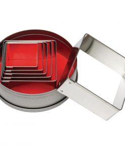 Vogue Square Plain Pastry Cutter Set