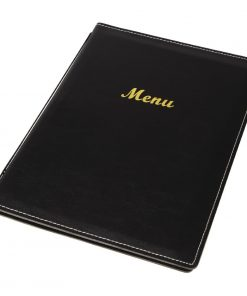 Olympia Faux Leather Menu Cover A5 Black