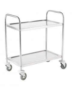 Vogue Stainless Steel 2 Tier Clearing Trolley Large