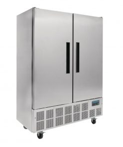 Polar Double Door Slimline Fridge Stainless Steel 960Ltr