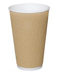 Fiesta Ripple Wall Takeaway Coffee Cups Kraft 455ml / 16oz x 500