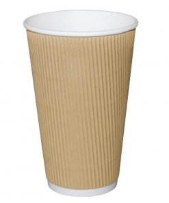 Fiesta Ripple Wall Takeaway Coffee Cups Kraft 455ml / 16oz x 25