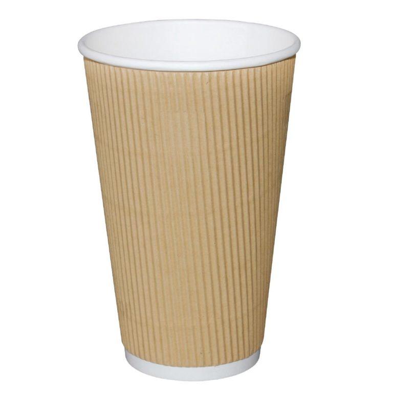 Fiesta Ripple Wall Takeaway Coffee Cups Kraft 455ml / 16oz x 25
