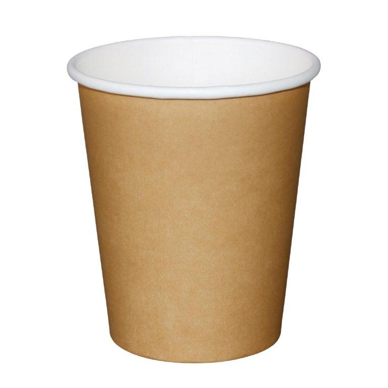 Fiesta Single Wall Takeaway Coffee Cups Kraft 225ml / 8oz x 1000