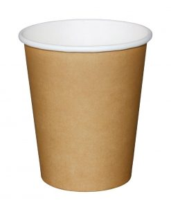 Fiesta Single Wall Takeaway Coffee Cups Kraft 225ml / 8oz x 50