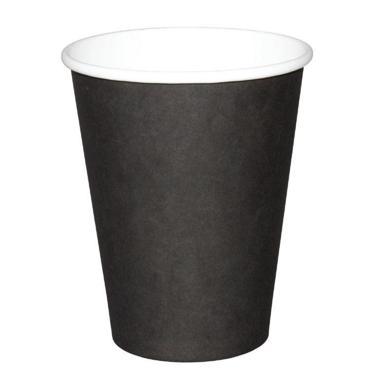 Fiesta Single Wall Takeaway Coffee Cups Black 225ml / 8oz x 50