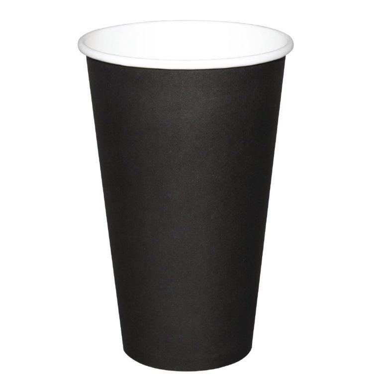 Fiesta Single Wall Takeaway Coffee Cups Black 455ml / 16oz x 50