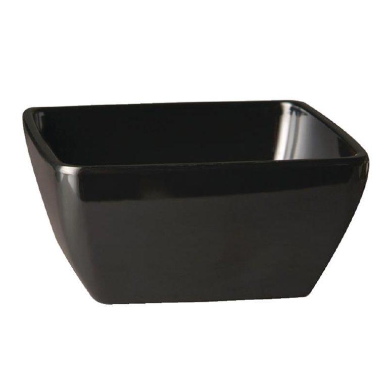 APS Pure Melamine Black Square Bowl 190mm