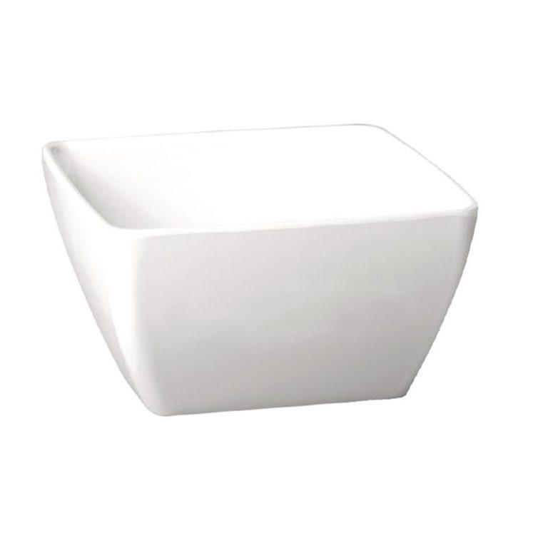 APS Pure Melamine White Square Bowl 250mm