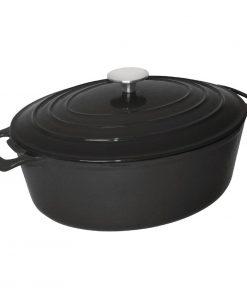 Vogue Black Oval Casserole Dish 6Ltr