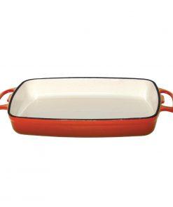 Vogue Orange Rectangular Cast Iron Dish 1.8Ltr