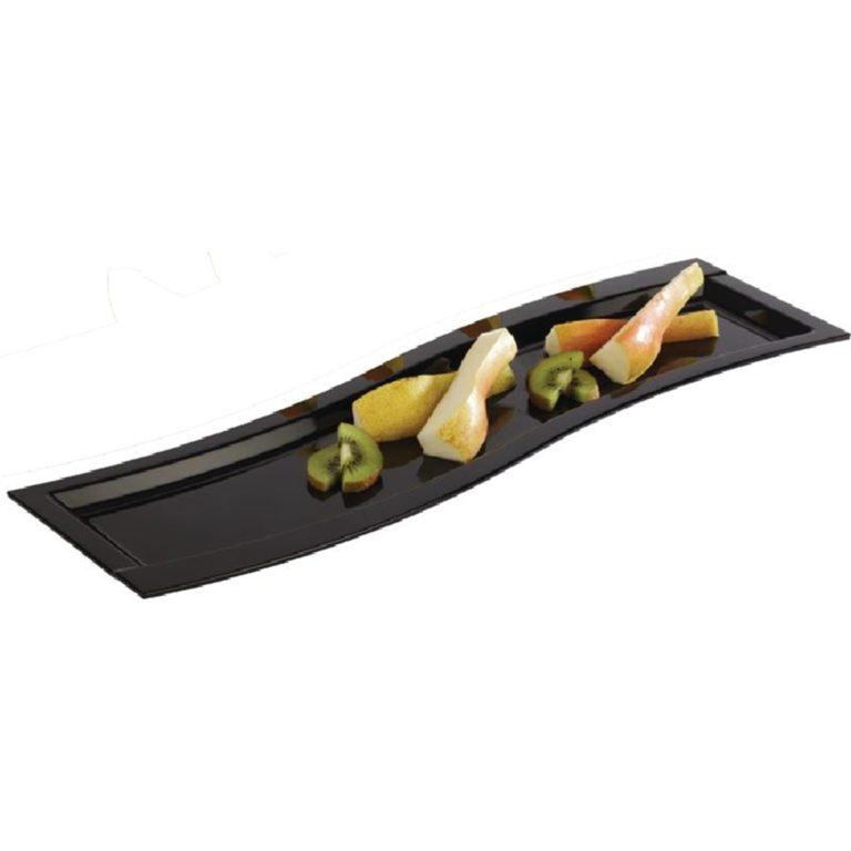 APS Wave Melamine Platter Black GN 2/4