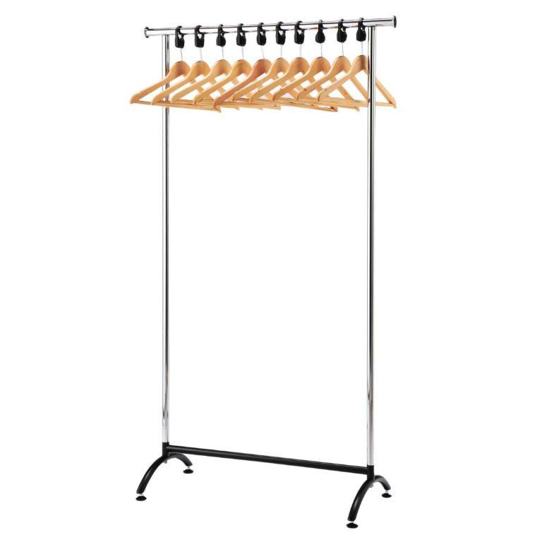 Chrome Coat Rack with 10 Wood Hangers