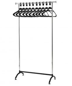 Chrome Coat Rack with 10 Polypropylene Hangers