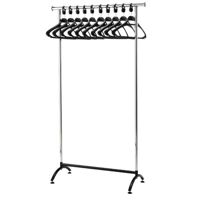 Chrome Coat Rack with 10 Polypropylene Hangers