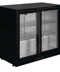 Polar Back Bar Cooler with Sliding Doors in Black 208Ltr