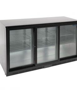 Polar Back Bar Cooler with Sliding Doors in Black 320Ltr