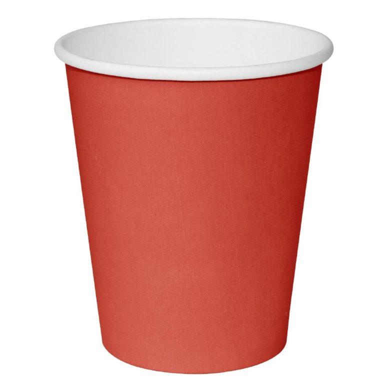 Fiesta Single Wall Takeaway Coffee Cups Red 225ml / 8oz x 1000