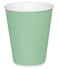Fiesta Ripple Wall Takeaway Coffee Cups Turquoise 340ml / 12oz x 25
