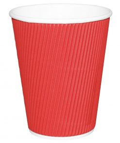 Fiesta Ripple Wall Takeaway Coffee Cups Red 225ml / 8oz x 25