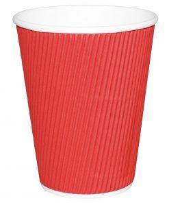 Fiesta Ripple Wall Takeaway Coffee Cups Red 225ml / 8oz x 500