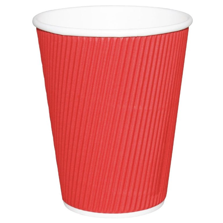 Fiesta Ripple Wall Takeaway Coffee Cups Red 225ml / 8oz x 500