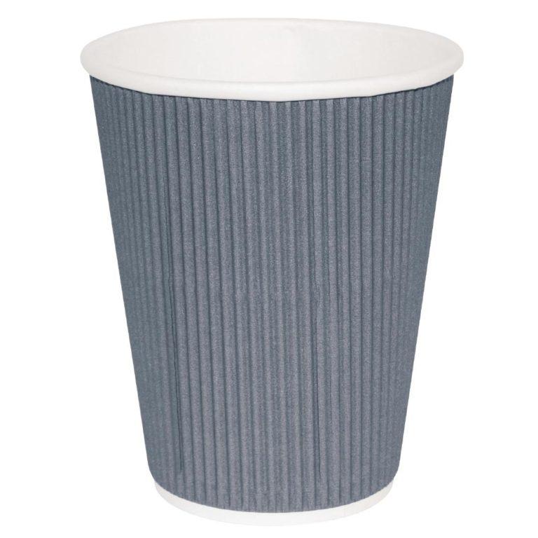 Fiesta Ripple Wall Takeaway Coffee Cups Charcoal 340ml / 12oz x 25