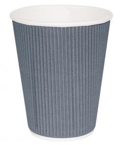 Fiesta Ripple Wall Takeaway Coffee Cups Charcoal 225ml / 8oz x 500