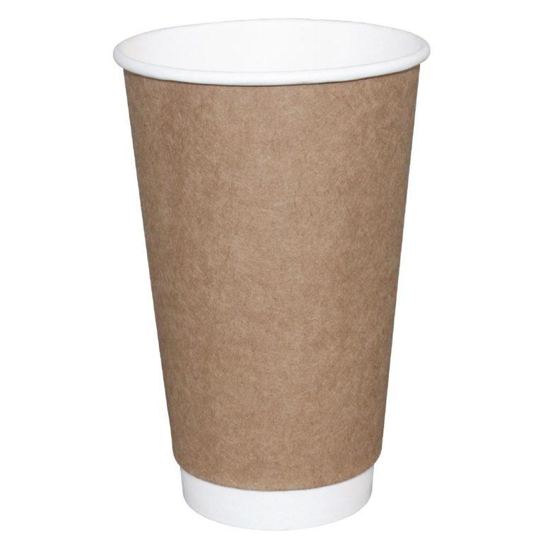 Fiesta Double Wall Takeaway Coffee Cups Kraft 225ml / 8oz x 25
