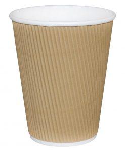 Fiesta Ripple Wall Takeaway Coffee Cups Kraft 225ml / 8oz x 25