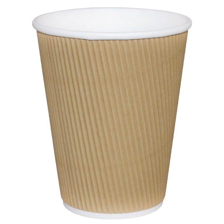 Fiesta Ripple Wall Takeaway Coffee Cups Kraft 340ml / 12oz x 500