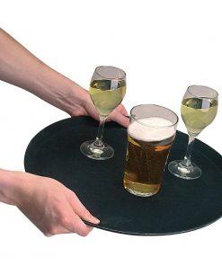 Kristallon Fibreglass Round Non Slip Tray Black 14 in