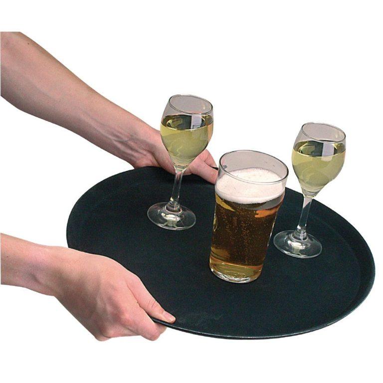 Kristallon Fibreglass Round Non Slip Tray Black 16 in