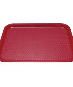 Kristallon Plastic Fast Food Tray Red Medium