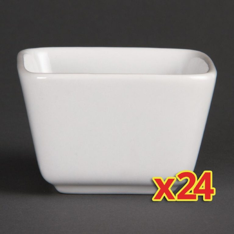 Bulk Buy Pack of 24 Olympia Whiteware Tall Square Mini Dishes