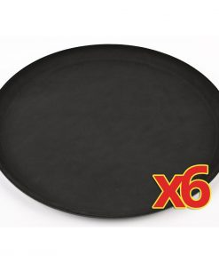Bulk Buy Pack of 6 Round Anti-Slip Trays (C557)