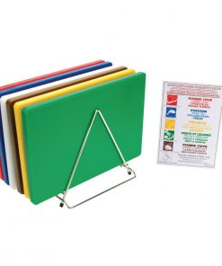 Hygiplas Thick Low Density Chopping Board Set with Rack